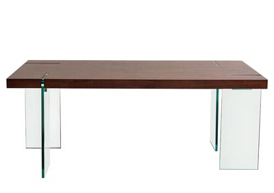 Glass Leg Dining Table with Java Veneer Top