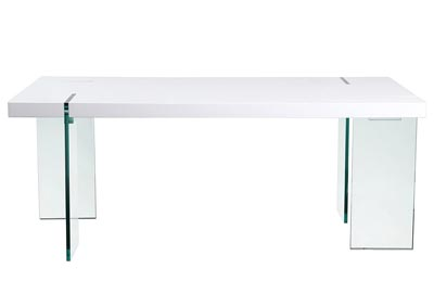 Glass Leg Dining Table with White Lacquer Top