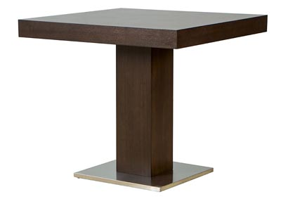 Square Pub Table in Java Veneer with Stainless Steel Base