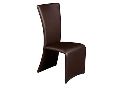 Set of Two Brown Dining Side Chairs