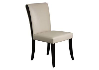Set of 2 Tan Bonded Leather Dining Side Chairs with Wood Legs