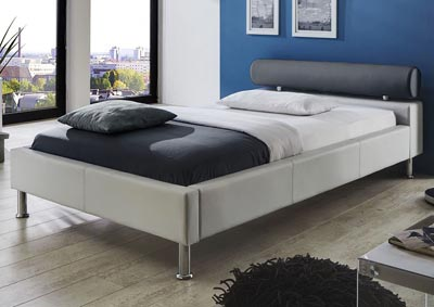 Anello Queen Bed with Charcoal Bolster & Metal Leg