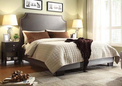 Athens Queen Bed with Nail Head Accents in Elephant Grey Blended  Leather