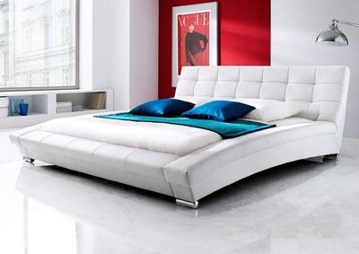 Bella Eastern King Bed in White Leatherette w/ Metal Leg