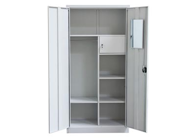 2-Door Metal Closet with Safe & Mirror with Key Lock Entry