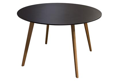 Round Retro Black Dining Table with Solid Oak Legs