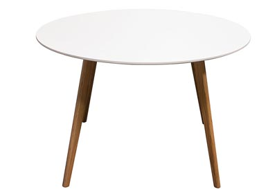 Round Retro White Dining Table with Solid Oak Legs