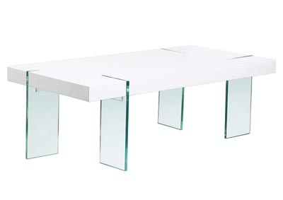 Glass Leg Cocktail Table with White Lacquer Top
