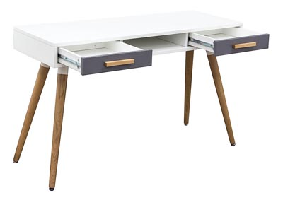 Two-Tone Retro 2-Drawer Desk Table