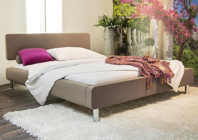 Enya Eastern King Bed in Mink/Shadow Two-Tone & Metal Leg