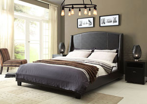 Laurent Eastern King Bed with Vintage Wings in Buff Grey Leatherette Finish