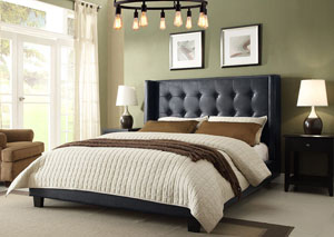 Madison Tufted California King Bed with Tapered Wings in Black Leatherette Finish