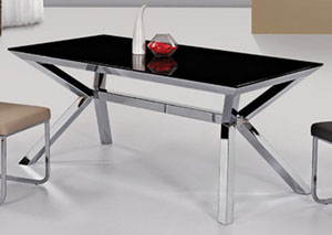 Rectangular Black Glass Dining Table with Nickel Finish Base