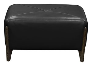 Monaco Rectangular Ottoman in Black Blended Leather with Ash Wood Trim & Leg
