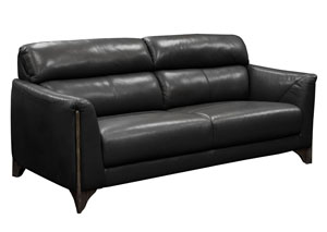 Monaco Sofa in Black Blended Leather with Ash Wood Trim & Leg