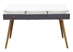 Two-Tone Retro Three Drawer Desk Table