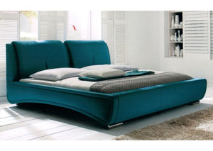 Sydney California King Bed in Teal Fabric