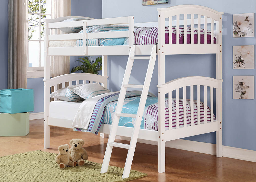 Twin/Twin White Arch Mission Bunk Bed,Donco Kids