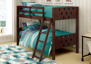 Twin/Twin Dark Cappuccino Circles Bunk Bed,Donco Kids