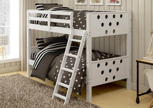 Twin/Twin White Circles Bunk Bed,Donco Kids