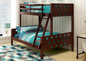 Twin/Full Dark Cappuccino Circles Bunk Bed,Donco Kids