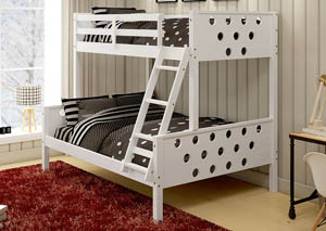 Twin/Full White Circles Bunk Bed