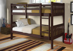 Twin Dark Cappuccino Bunk Bed