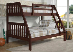 Twin/Full Dark Cappuccino Bunk Bed w/Ladder