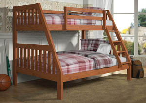 Twin/Full Cinnamon Bunk Bed w/Ladder