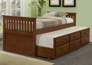 Twin Light Espresso Mission Trundle Bed w/3 Roll-Out Storage Drawers