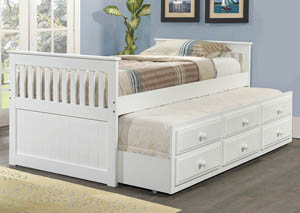 Twin White Mission Trundle Bed Bed w/ 3 Roll-Out Storage Drawers