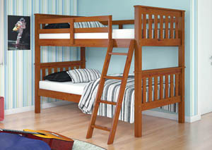 Twin/Twin Light Espresso Mission Bunk Bed w/Ladder