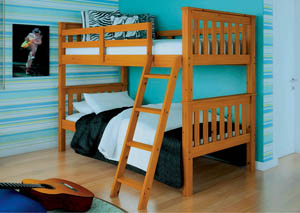 Twin/Twin Honey Mission Bunk Bed w/Tilt Ladder