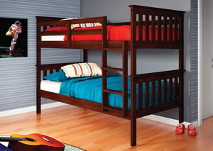 Twin/Twin Dark Cappuccino Mission Bunk Bed