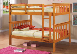 Twin/Twin Honey Mission Bunk Bed w/Ladder