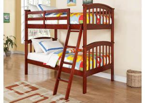 Arch Mission Cherry Twin/Twin Bunk Bed w/Ladder