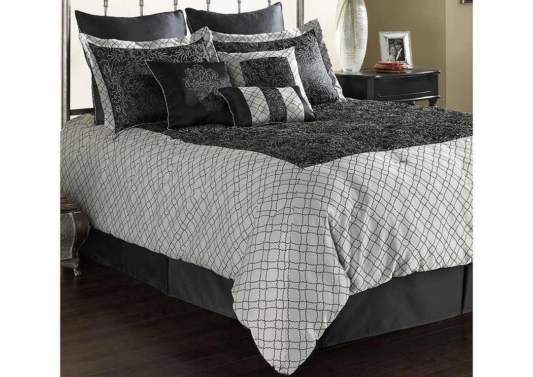 Baystar Pewter & Black Queen Pillow & Bedding Set, 11-Piece,Fashion Bed Group