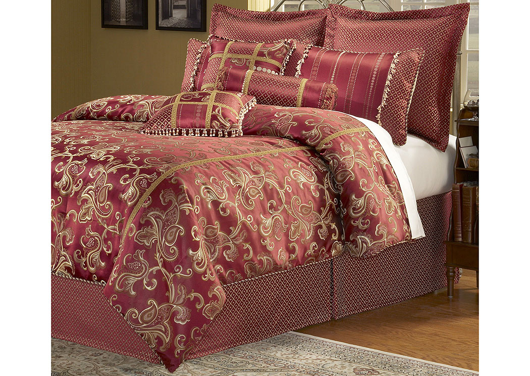 Crawford Merlot Queen Pillow & Bedding Set, 11-Piece,Fashion Bed Group