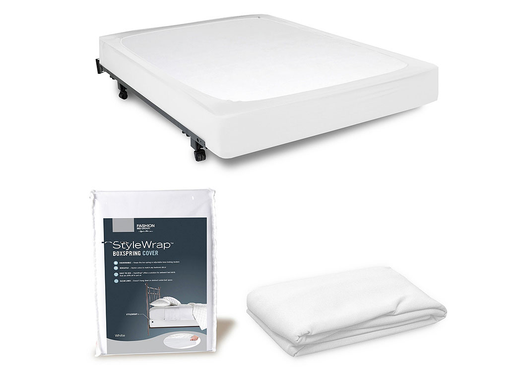 StyleWrap White Queen Box Spring Cover,Fashion Bed Group