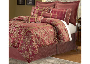 Crawford Merlot Queen Pillow & Bedding Set, 11-Piece