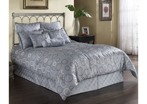 Elevation Silver & Grey Queen Pillow & Bedding Set, 11-Piece