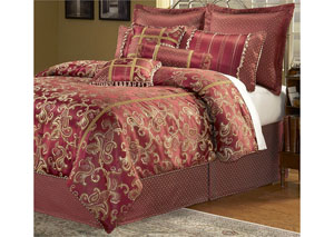 Crawford Merlot Queen Pillow & Bedding Set, 9-Piece