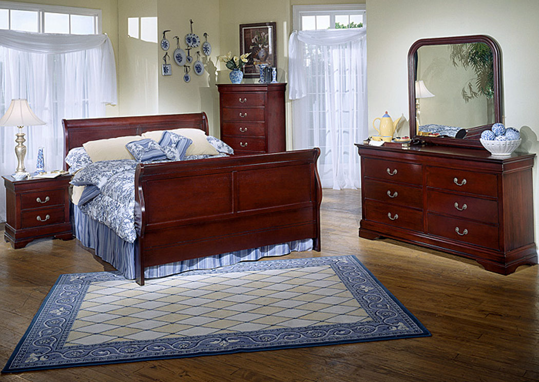 Home Furniture Fash N Home Bedrooms Queen Cherry Bed