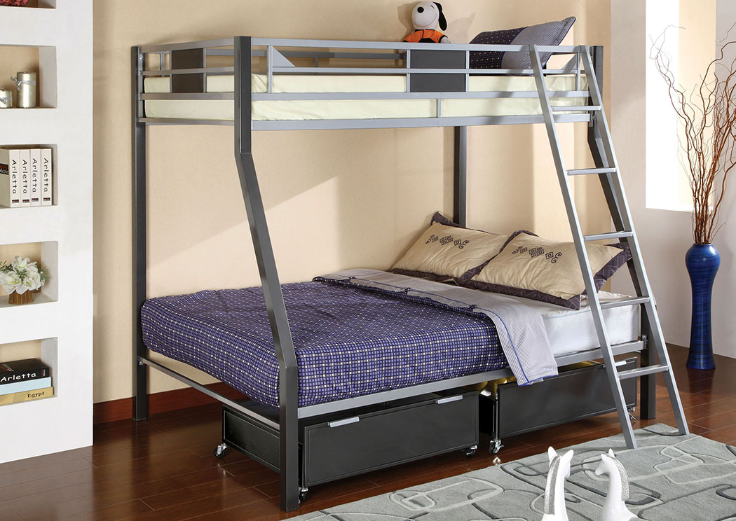 Florissant Furniture Cletis Twin Full Metal Bunk Bed W Trundle Drawers