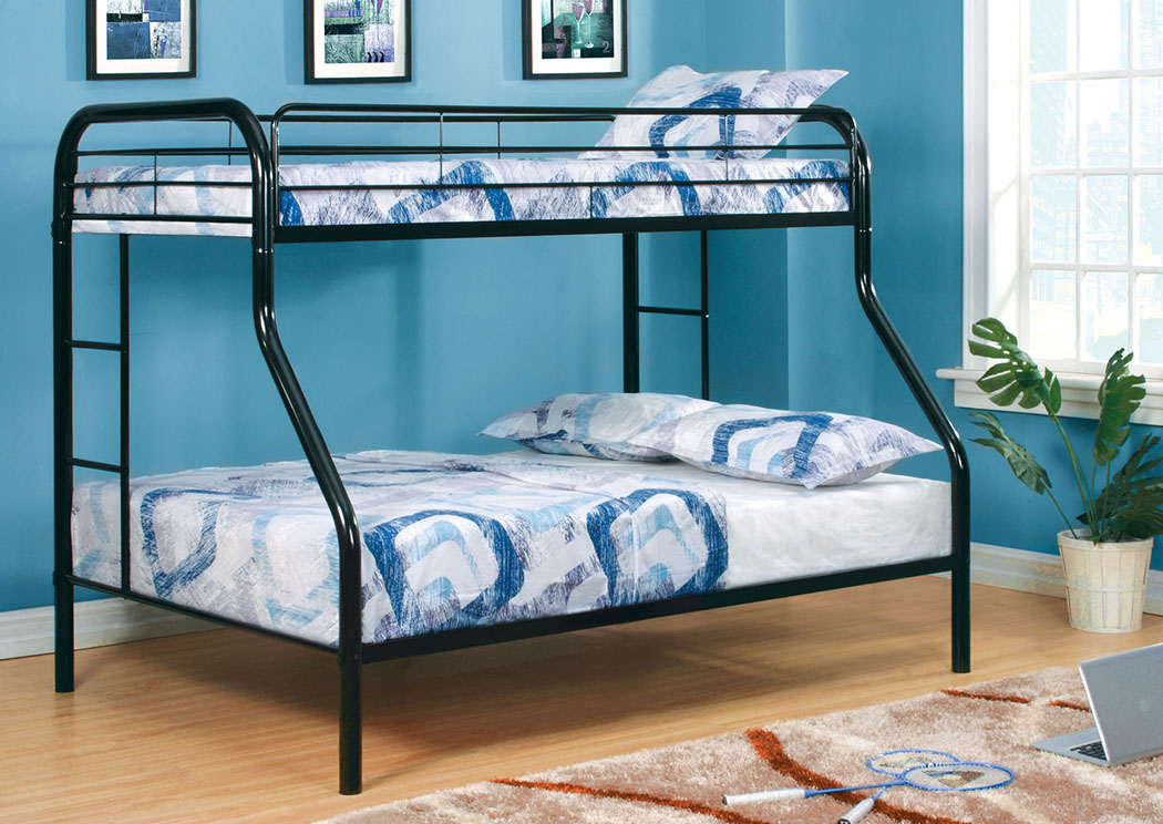 Unclaimed Furniture Ar Rainbow Black Twin Full Metal Bunk Bed