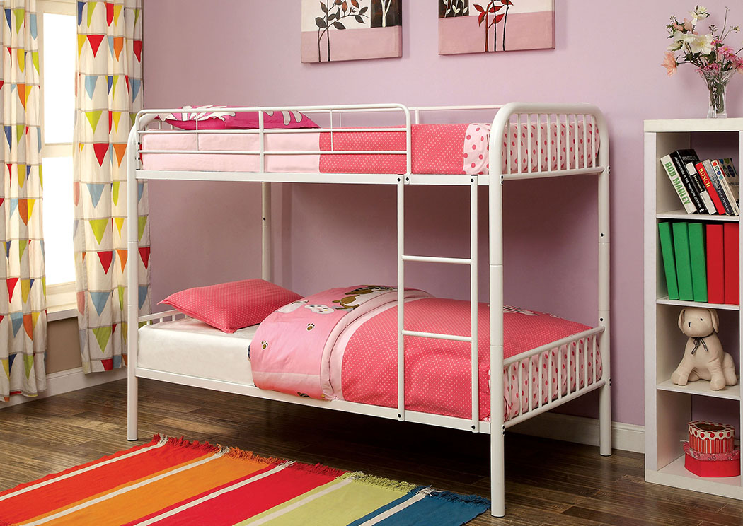 Florissant Furniture Rainbow White Twin Metal Bunk Bed W Trundle