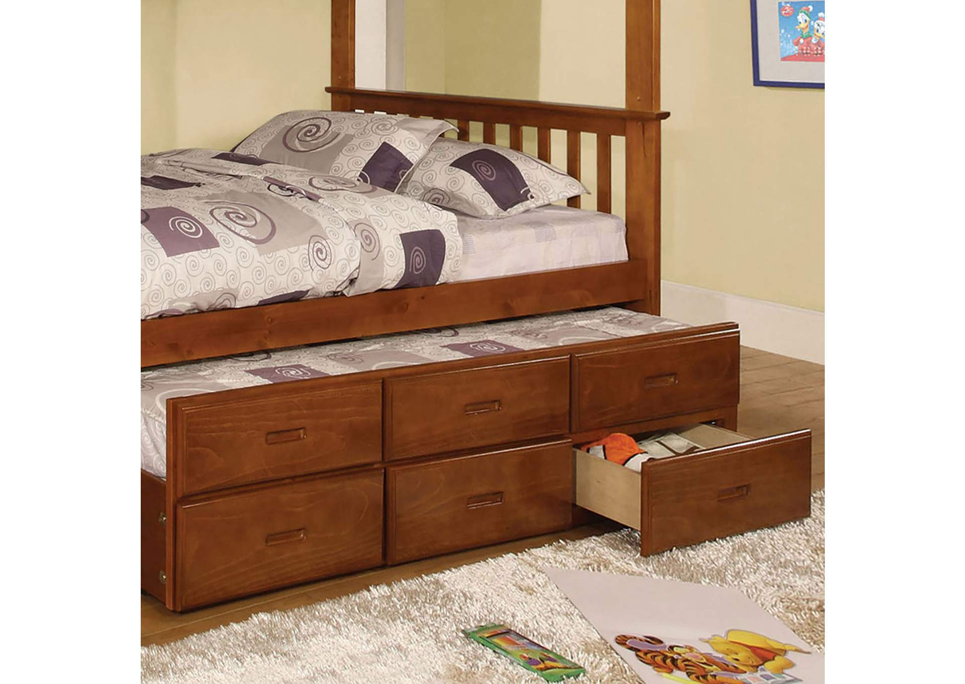 University Oak Twin Trundle w/3 Drawers,Furniture of America