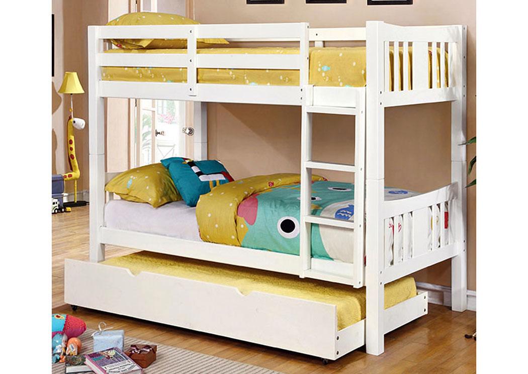 Cameron Twin White Bunk BedFurniture Of America