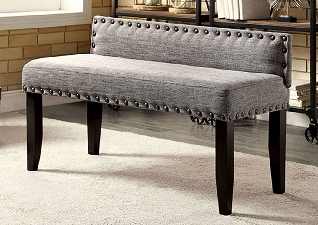 Furniture ville bronx ny herstal gray upholstered small - Upholstered benches for living room ...