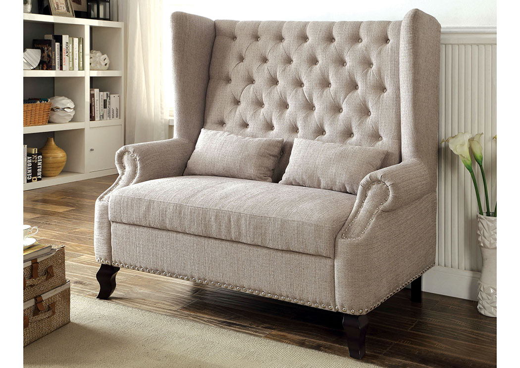 Peaceful Living Furniture Alcacer Beige Wingback Loveseat W/Button Tufting  U0026 2 Pillows